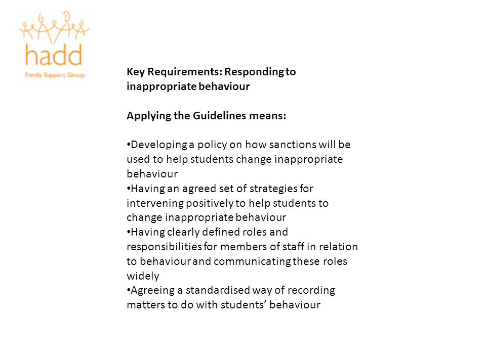 Key Requirements: Responding to inappropriate behaviour