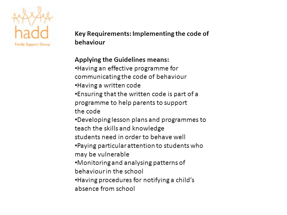 Key Requirements: Implementing the code of behaviour