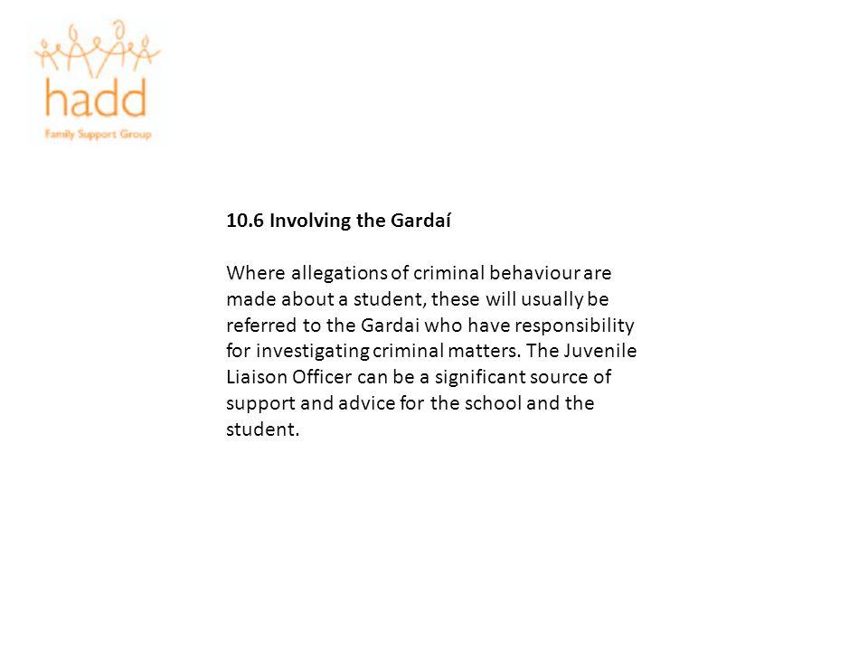 10.6 Involving the Gardaí