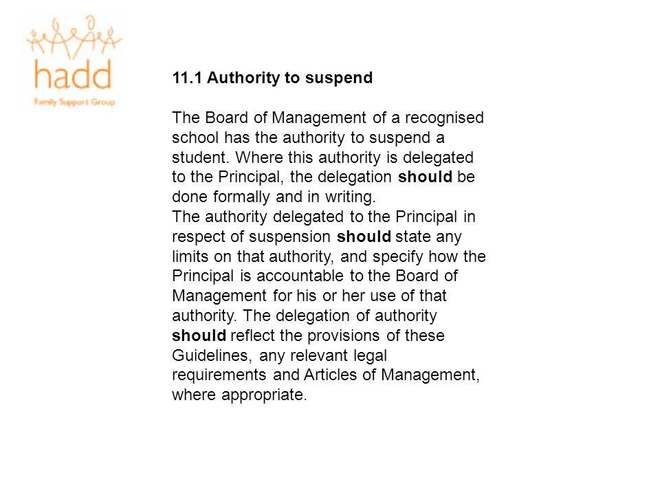 11.1 Authority to suspend