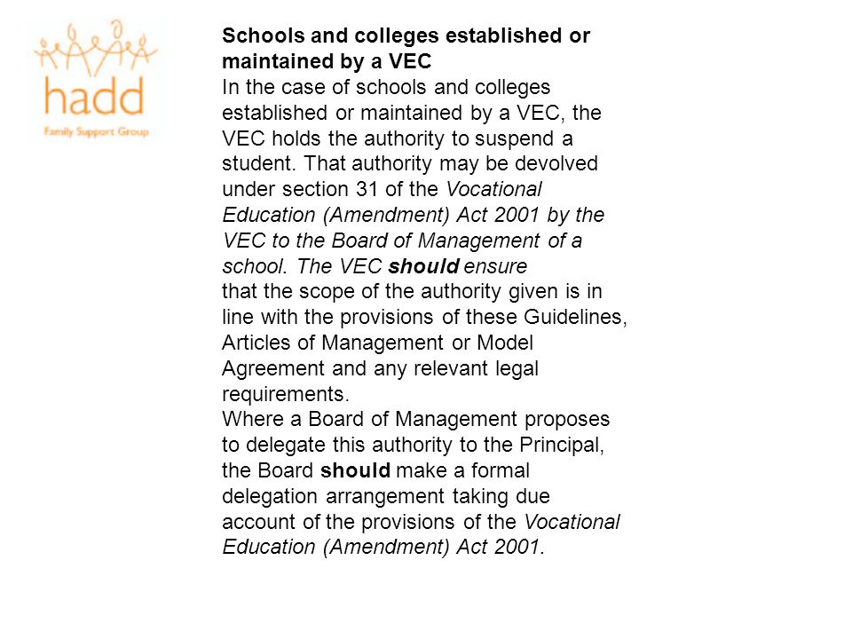 Schools and colleges established or maintained by a VEC