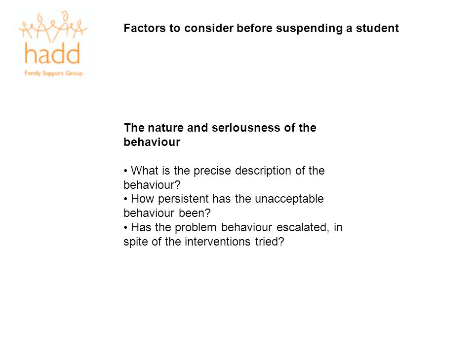 Factors to consider before suspending a student