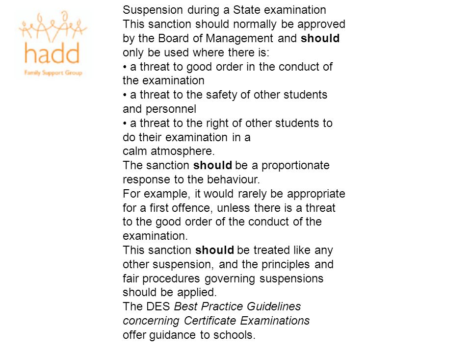 Suspension during a State examination