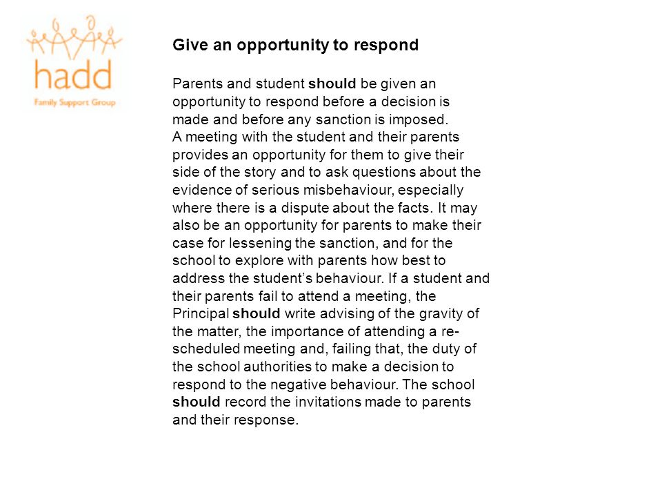 Give an opportunity to respond