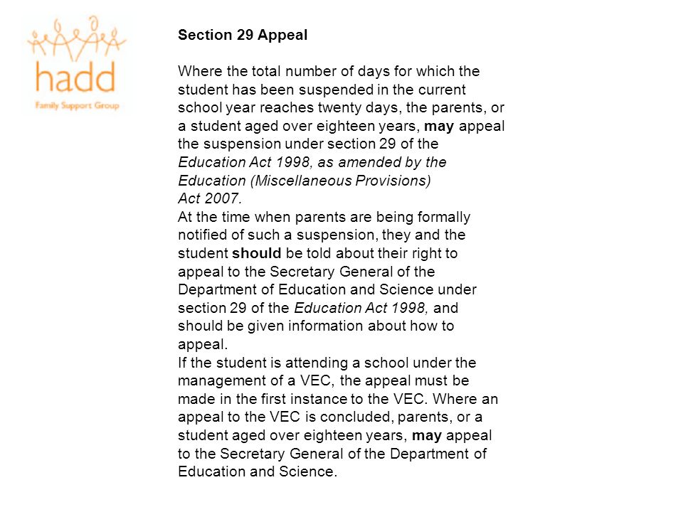 Section 29 Appeal
