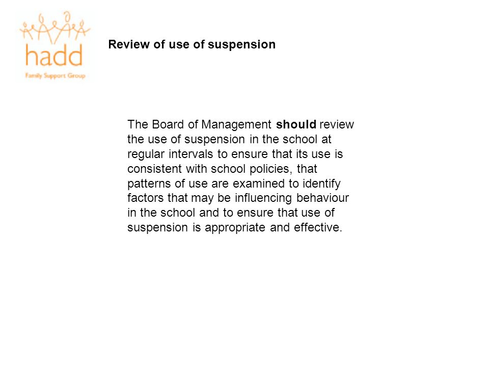 Review of use of suspension
