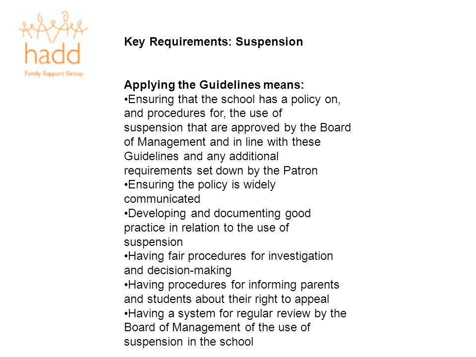 Key Requirements: Suspension