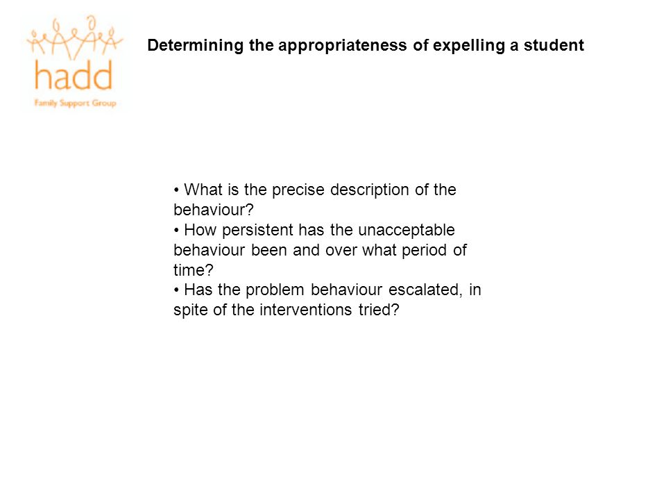 Determining the appropriateness of expelling a student