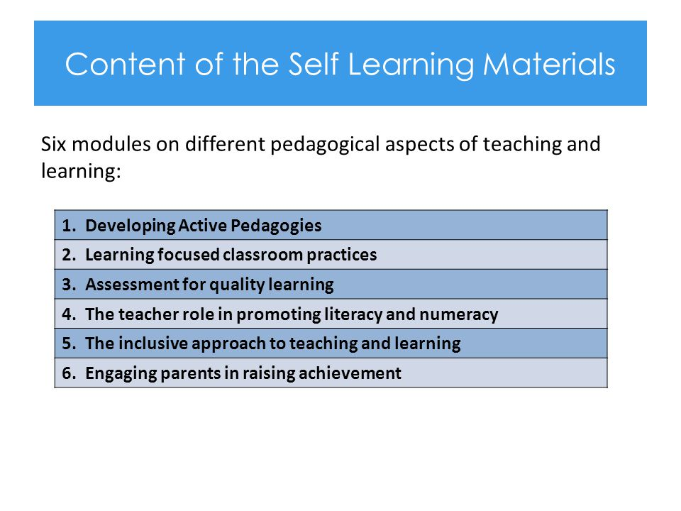 Content of the Self Learning Materials