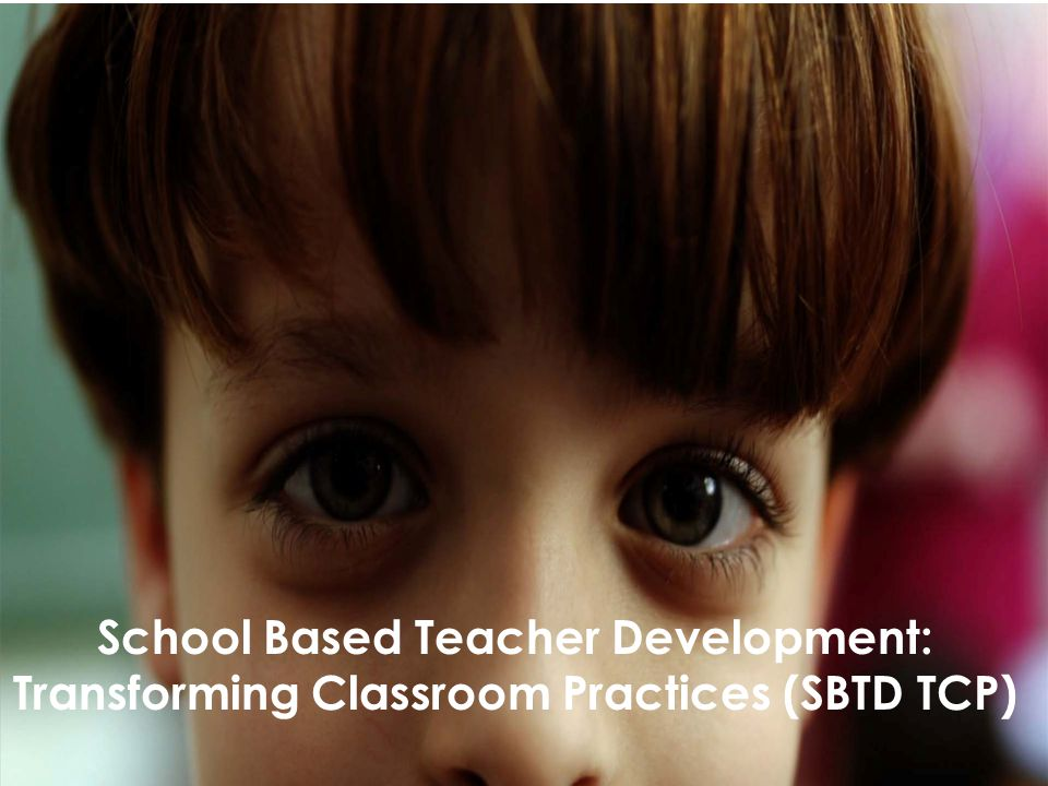 Objective To provide you with an overview of the School Based Teacher Development: Transforming Classrooms Programme.