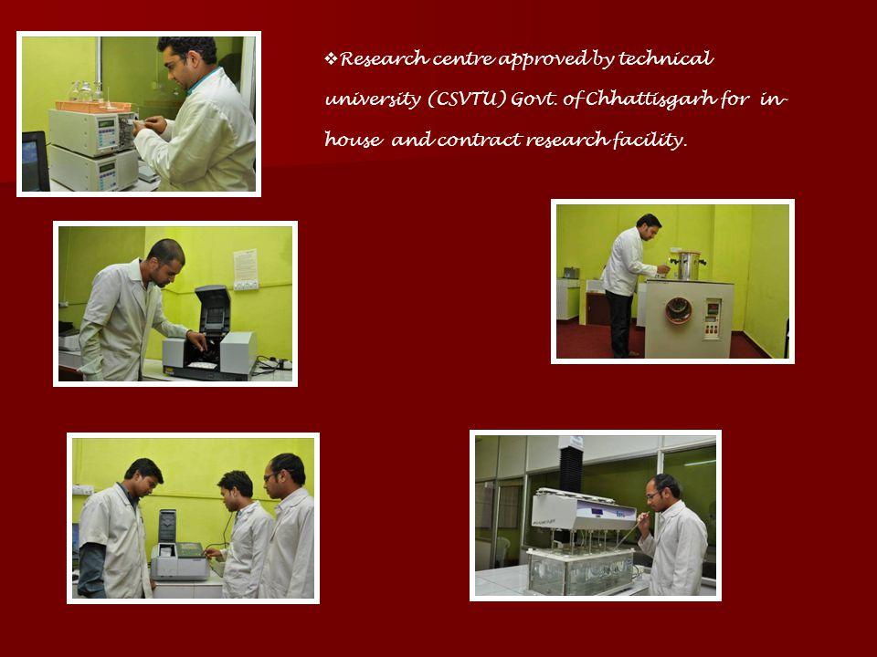 Research centre approved by technical university (CSVTU) Govt