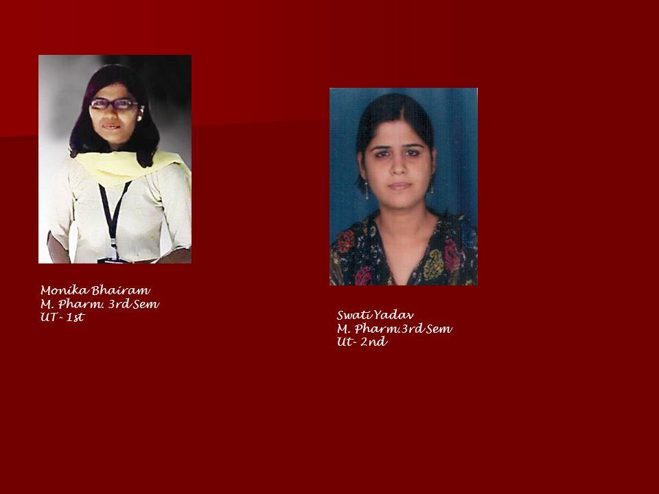 Monika Bhairam M. Pharm. 3rd Sem UT- 1st Swati Yadav M. Pharm.3rd Sem Ut- 2nd
