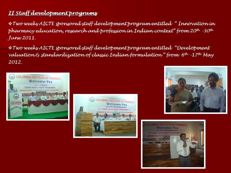 II Staff development programs