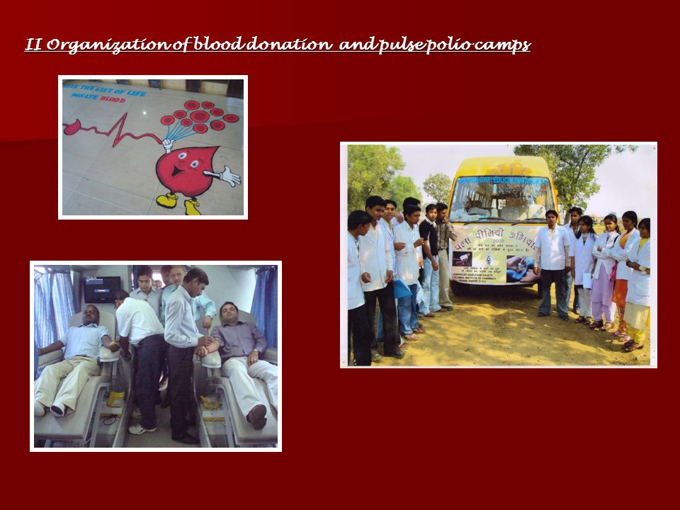 II Organization of blood donation and pulse polio camps