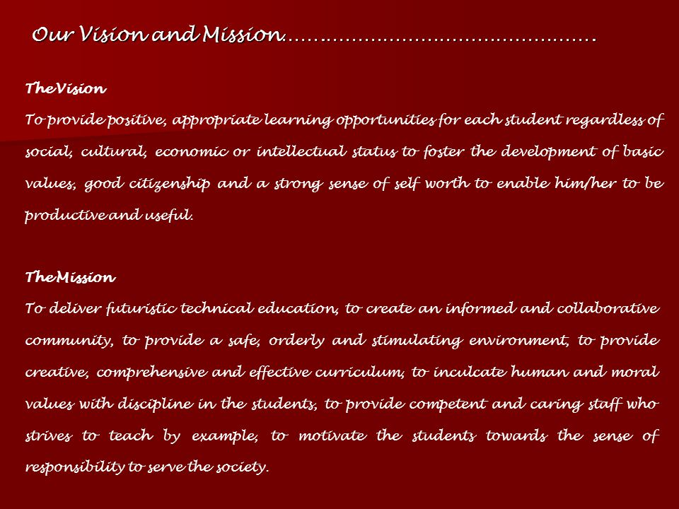 Our Vision and Mission…….…………………………………….