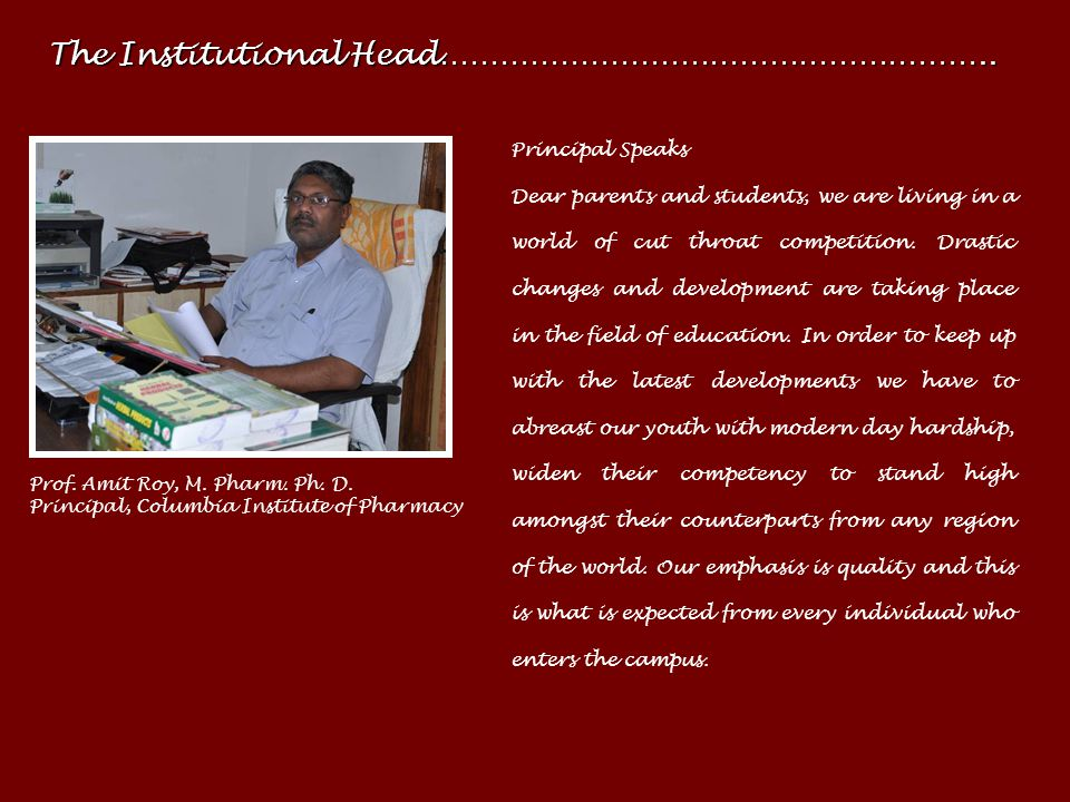 The Institutional Head………………………………………………..