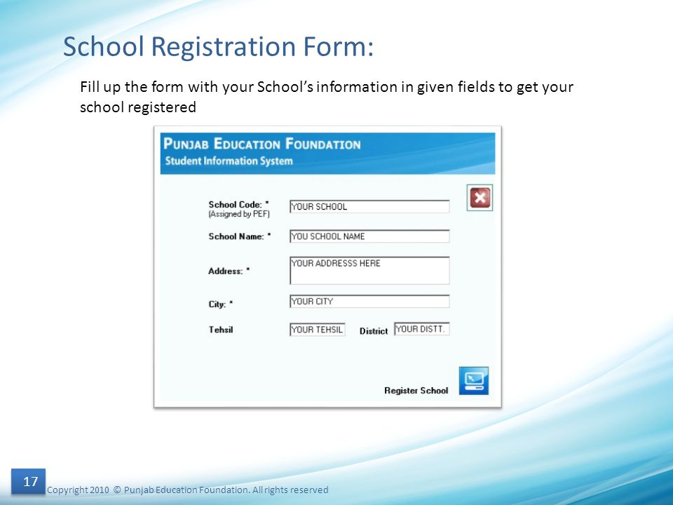 School Registration Form: