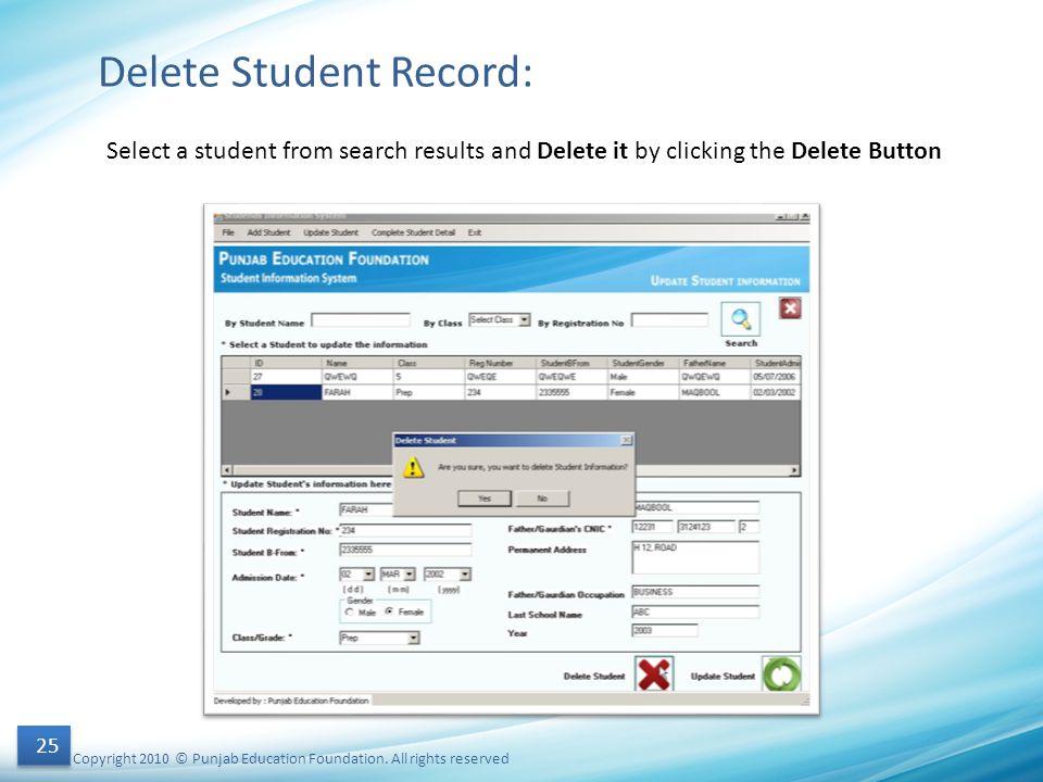 Delete Student Record: