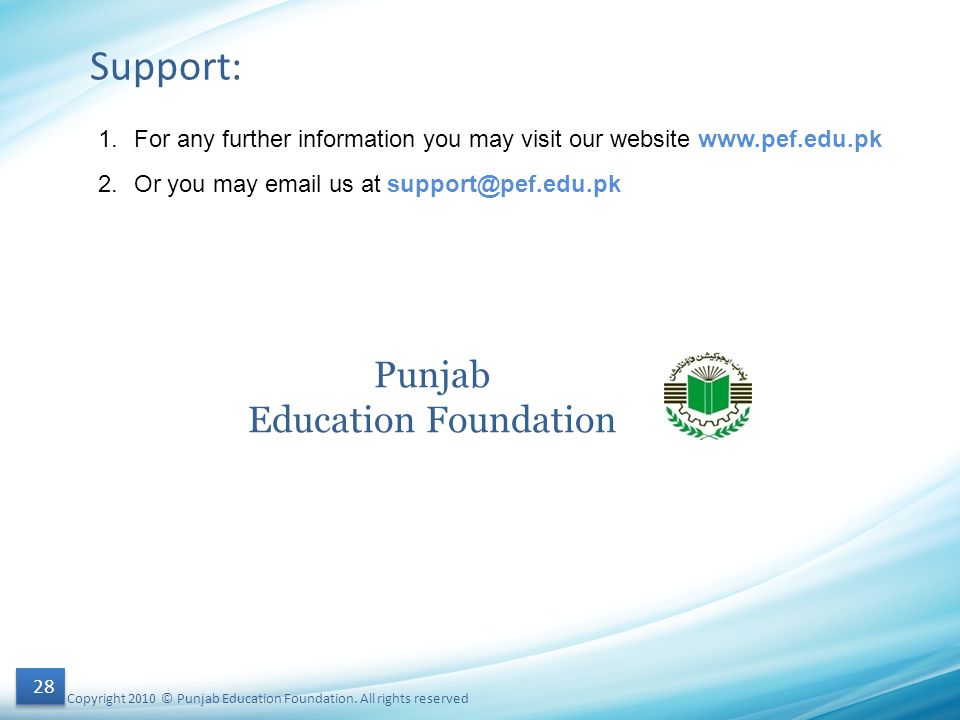 Support: Punjab Education Foundation