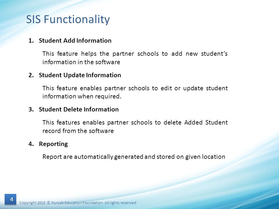 SIS Functionality Student Add Information