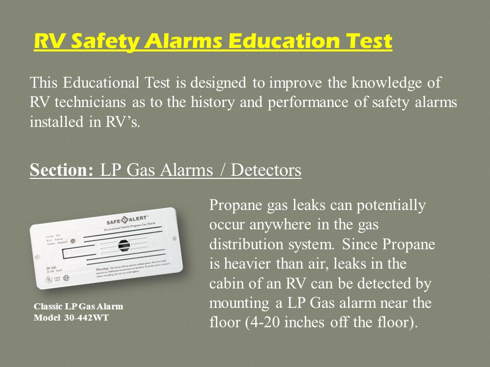 RV Safety Alarms Education Test