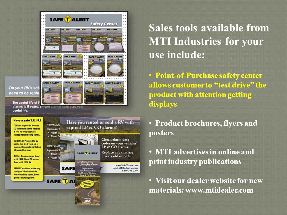 Sales tools available from MTI Industries for your use include: