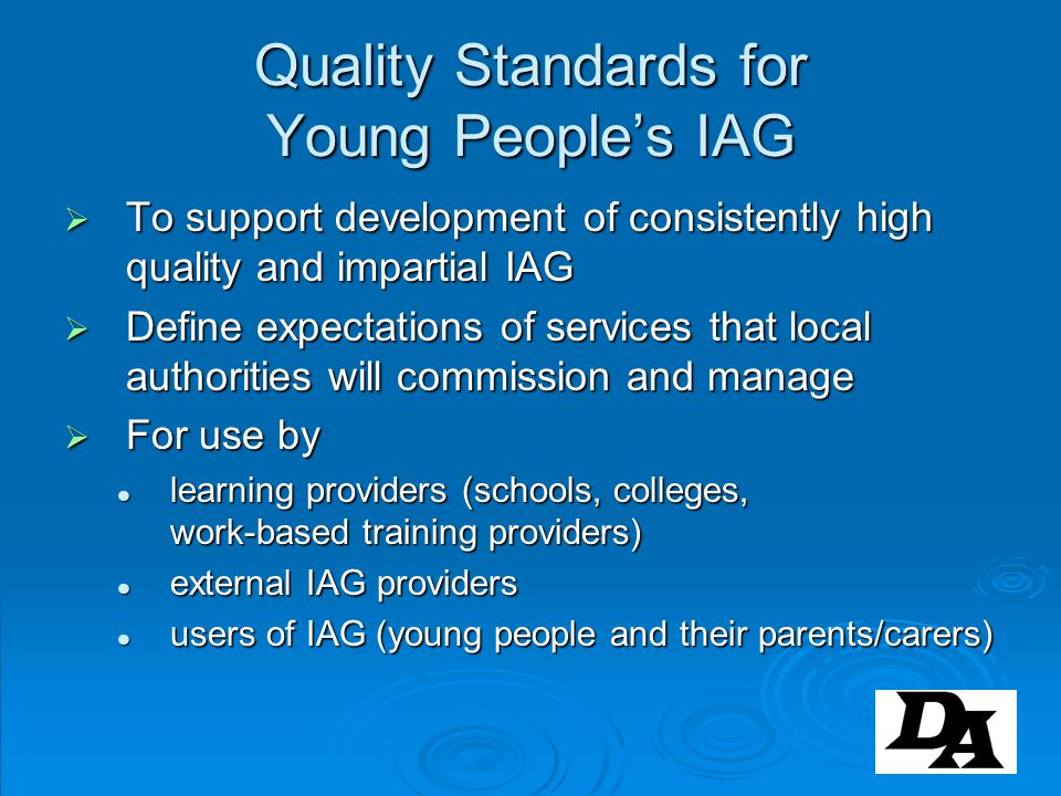 Quality Standards for Young People's IAG