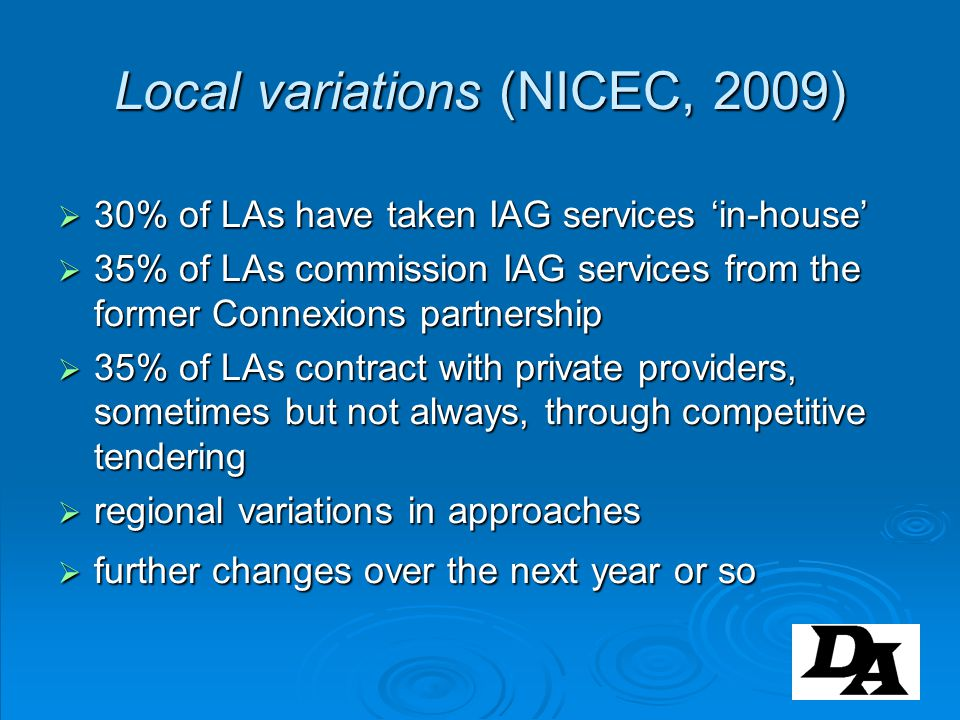 Local variations (NICEC, 2009)