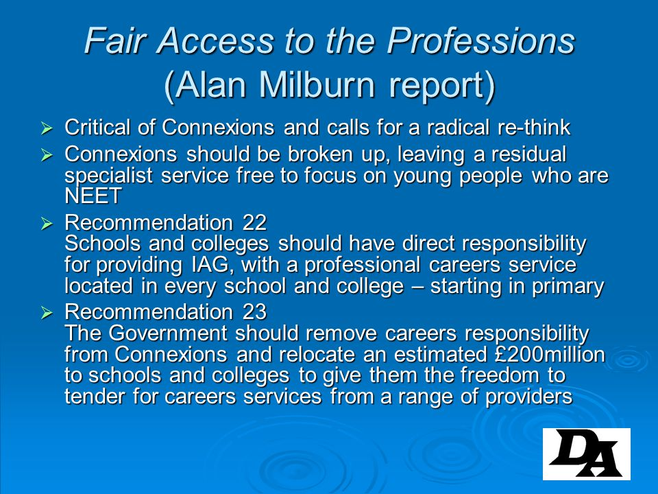 Fair Access to the Professions (Alan Milburn report)