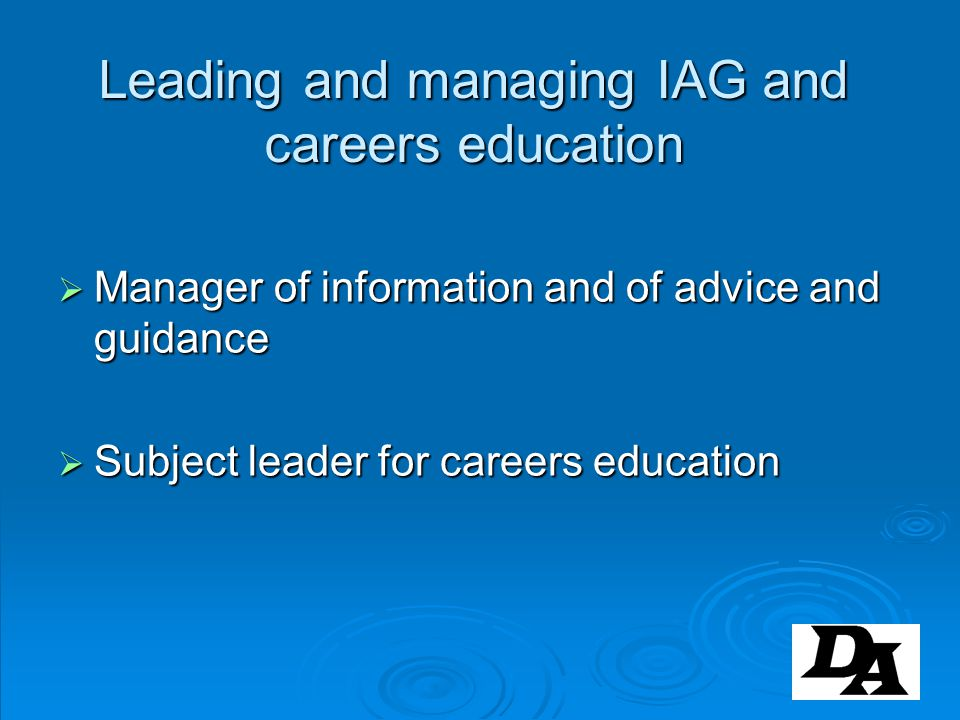 Leading and managing IAG and careers education