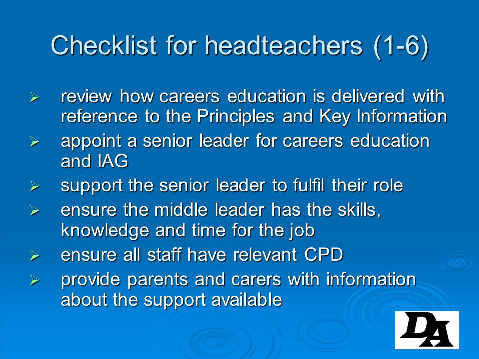 Checklist for headteachers (1-6)