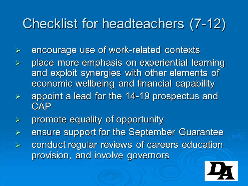 Checklist for headteachers (7-12)