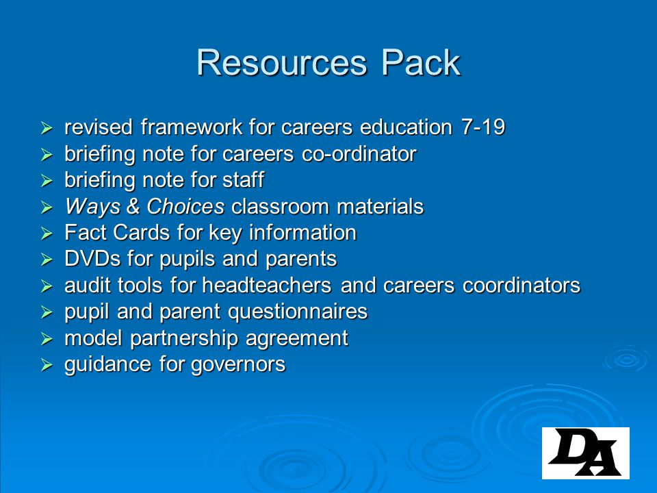 Resources Pack revised framework for careers education 7-19