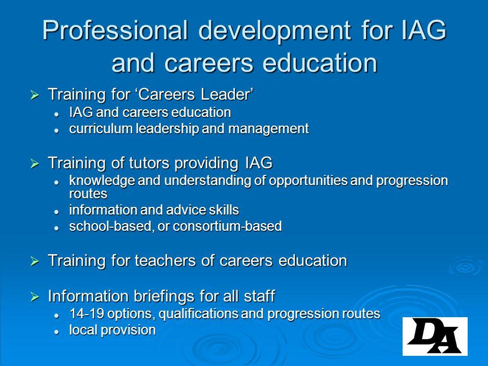 Professional development for IAG and careers education