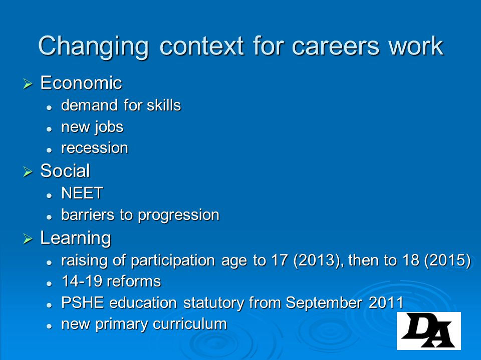 Changing context for careers work