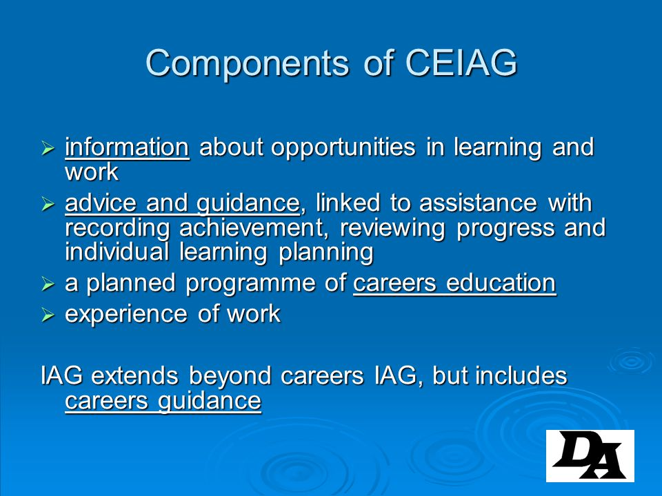 Components of CEIAG information about opportunities in learning and work.