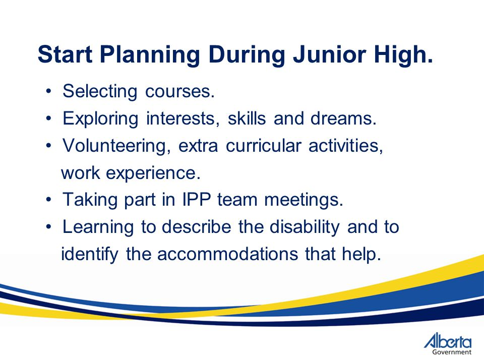 Start Planning During Junior High.