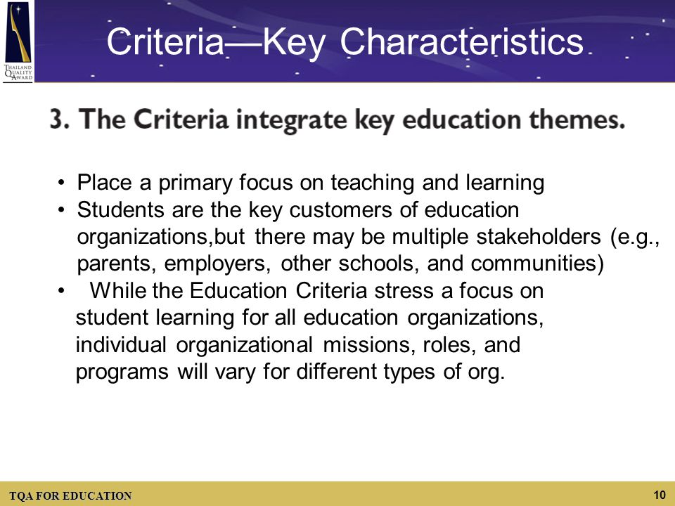 Criteria—Key Characteristics