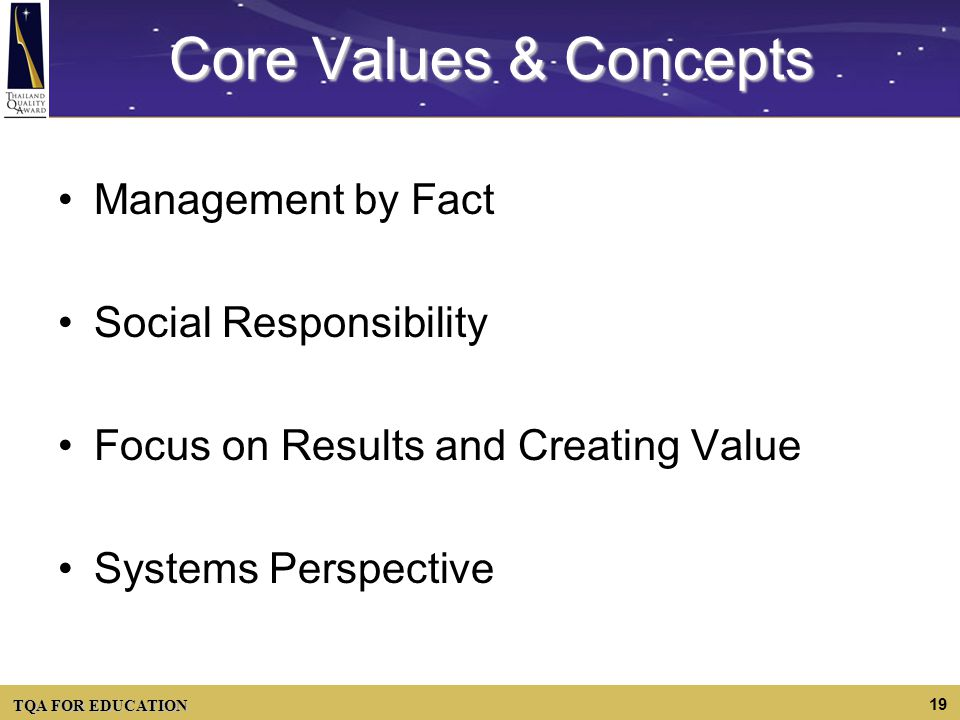 Core Values & Concepts Management by Fact Social Responsibility