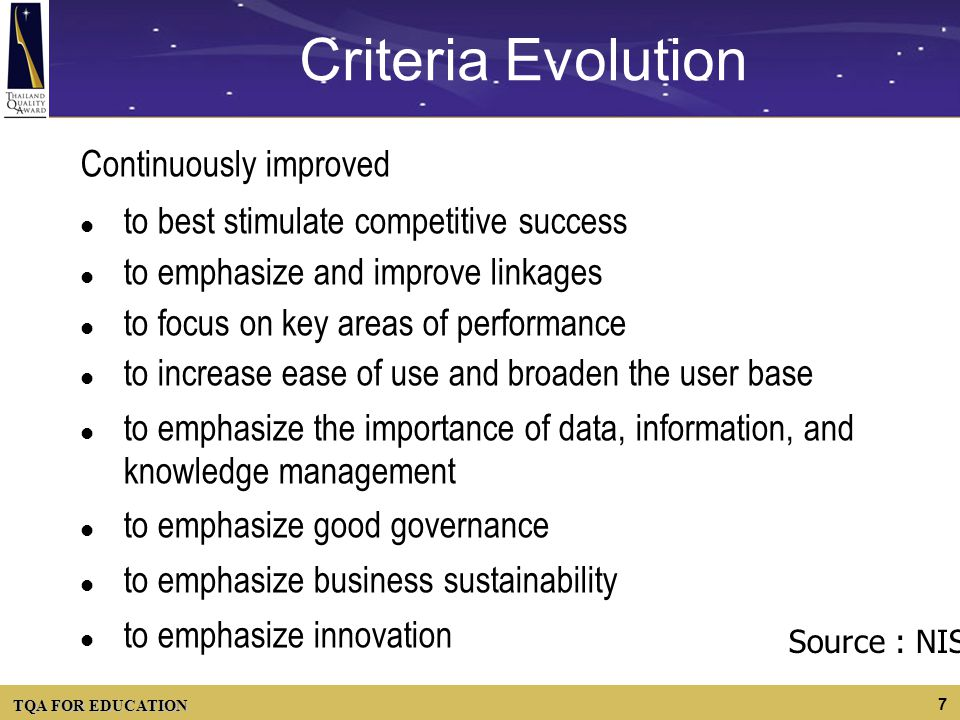 Criteria Evolution Continuously improved