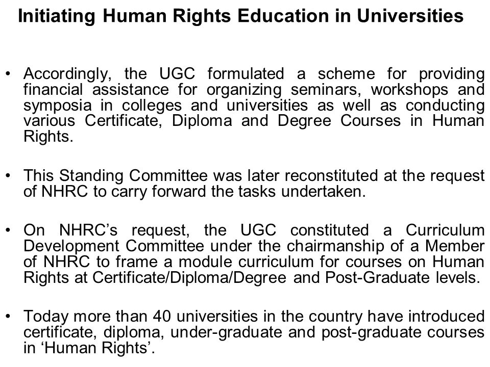 Initiating Human Rights Education in Universities