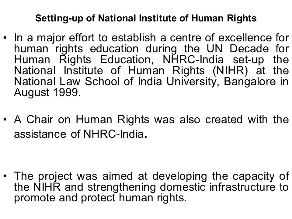 Setting-up of National Institute of Human Rights