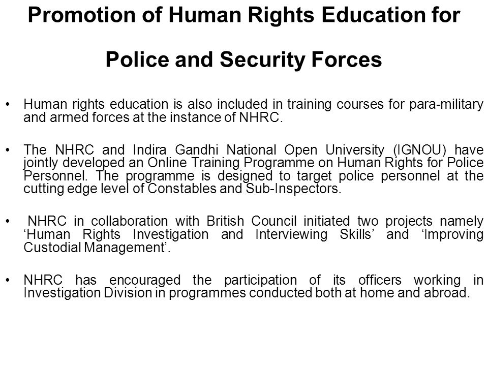 Promotion of Human Rights Education for Police and Security Forces