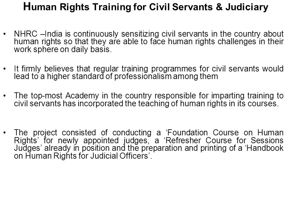 Human Rights Training for Civil Servants & Judiciary