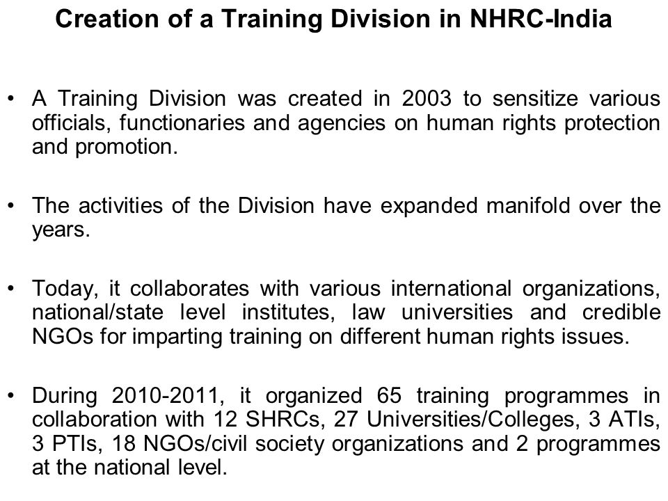 Creation of a Training Division in NHRC-India