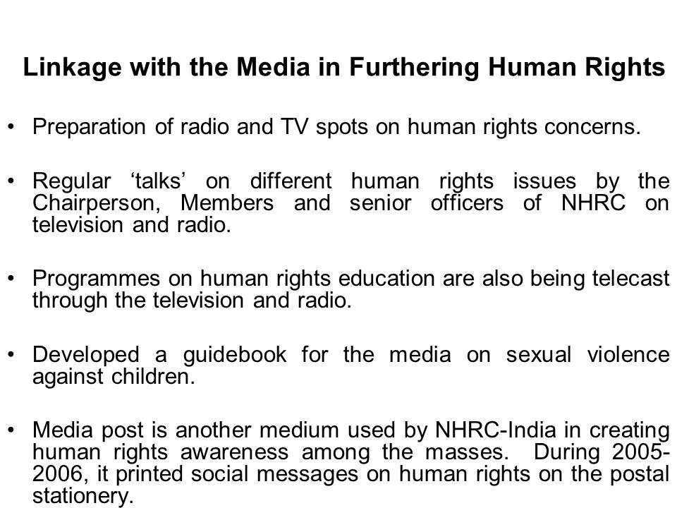 Linkage with the Media in Furthering Human Rights