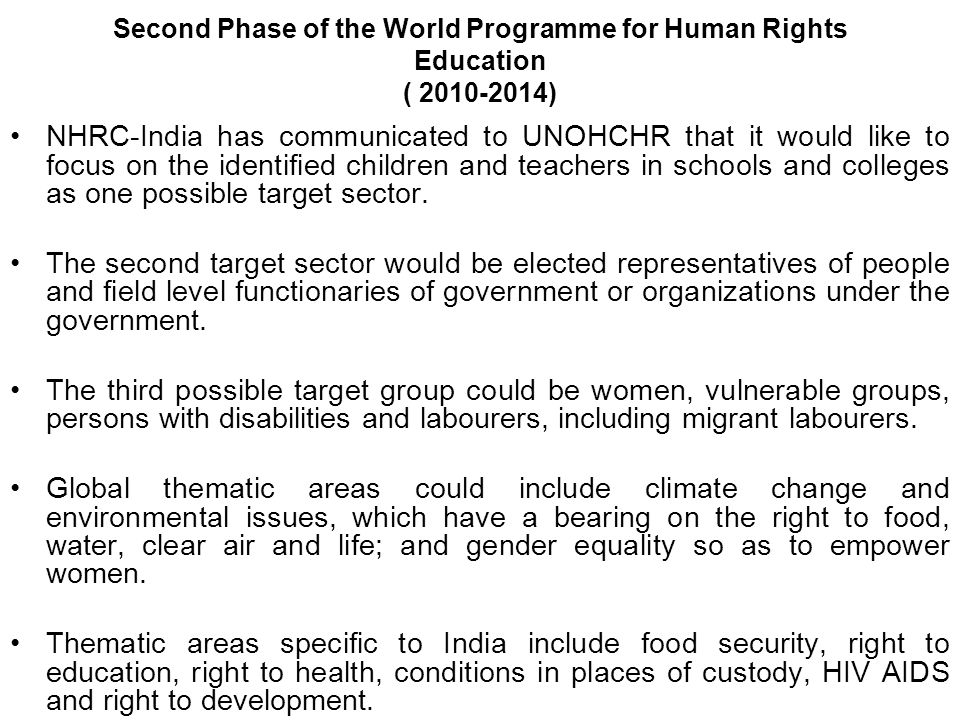 Second Phase of the World Programme for Human Rights Education ( 2010-2014)