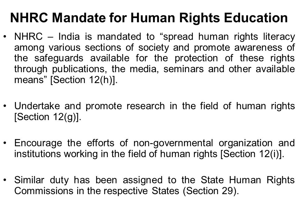 NHRC Mandate for Human Rights Education
