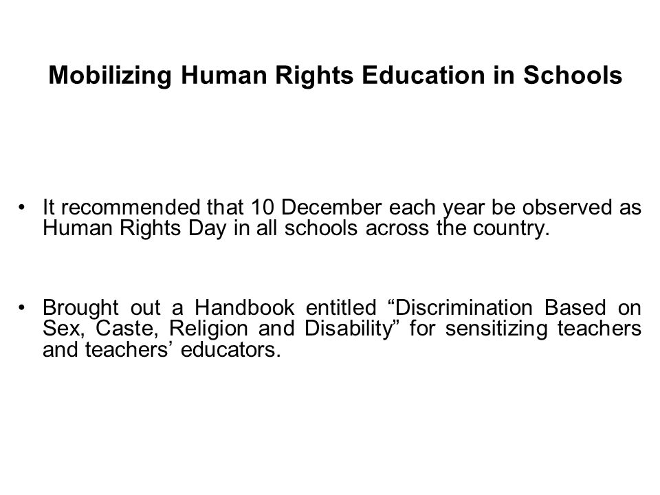 Mobilizing Human Rights Education in Schools