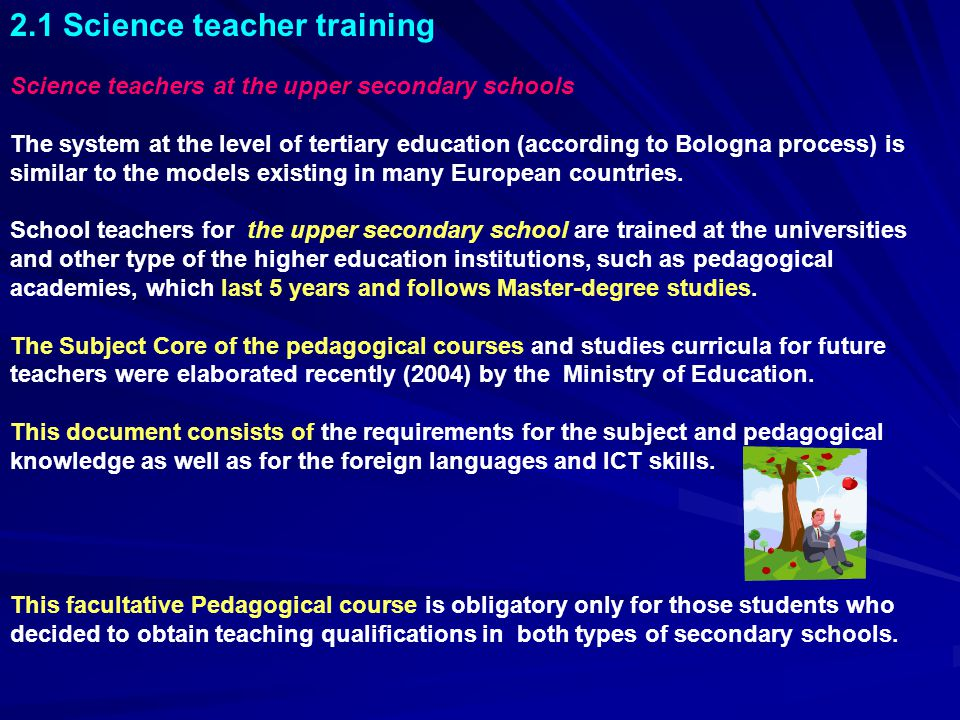2.1 Science teacher training